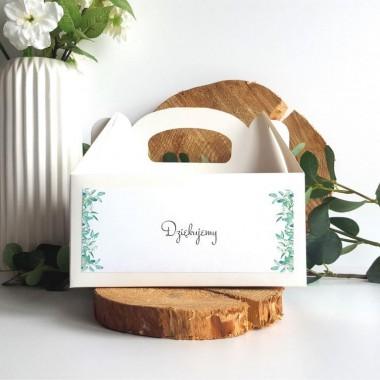 Białe pudełko na ciasto - Eukaliptus