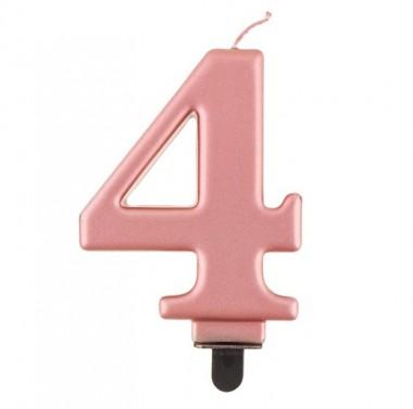 Świeczka różowozłota - cyfra 4