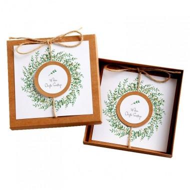Kartka Okolicznościowa w Pudełku na Chrzest - Eco Vintage Wianek - Eukaliptus Drobny