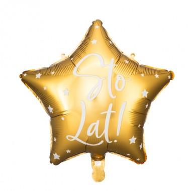 Balon foliowy Gwiazdka Sto lat! - Złoty
