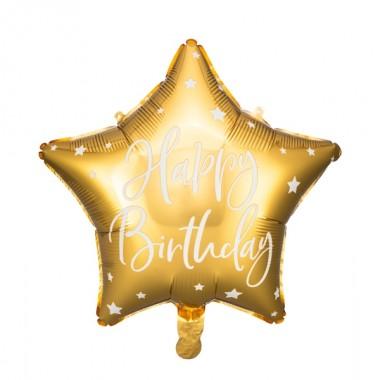 Balon foliowy Gwiazdka Happy Birthday - Złoty