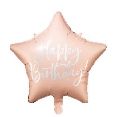 Balon foliowy Gwiazdka Happy Birthday - Pudrowy Róż