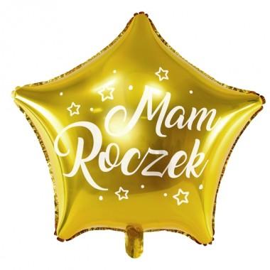 Balon foliowy Gwiazdka Mam Roczek - Złoty