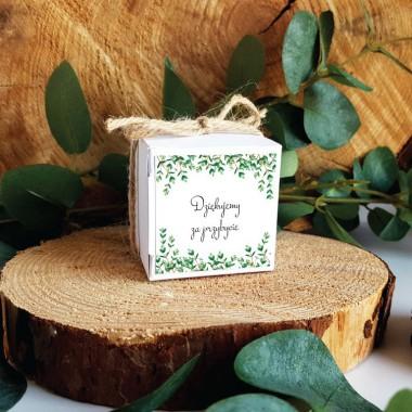 Białe pudełko na upominek 5x5x5cm - Eukaliptus Drobny
